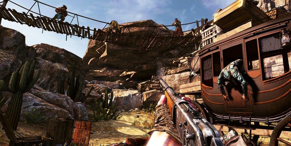 Perspektywa pierwszej osoby z gry Call of Juarez Gunslinger