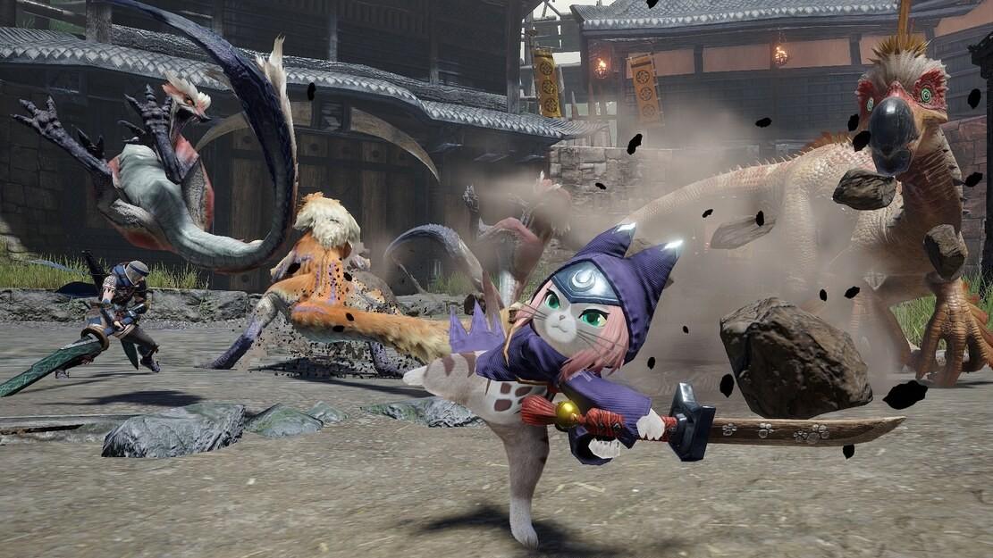Koci łowca wykonuje uderzenie z obrotem wyrzucając przeciwnika w powietrze